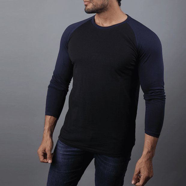Black & Navy Raglan Tee - TeeFit Fashion