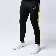 Black Interlock Bottoms With Yellow Stripe - TeeFit Fashion