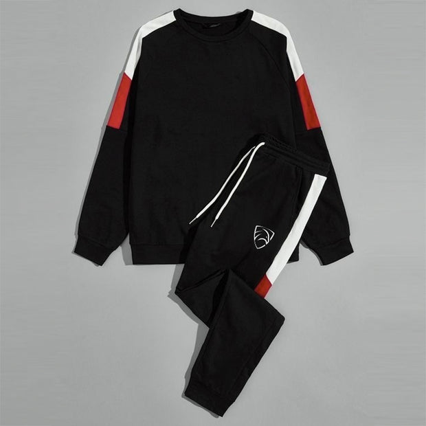 Black Tracksuit With Red And White Panel