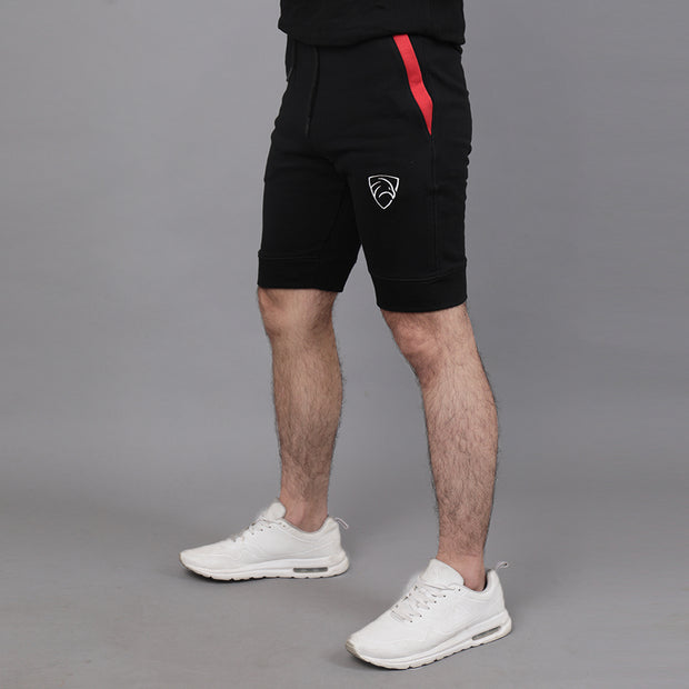 Black Shorts With Red Pocket Panels