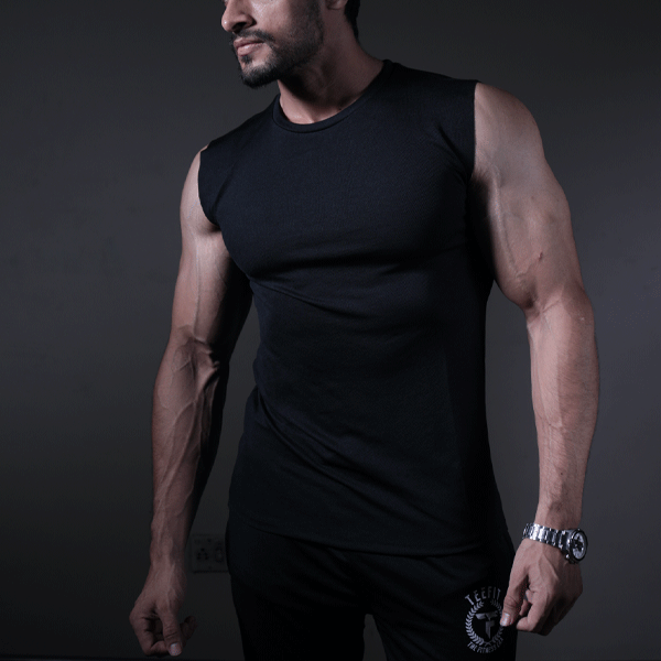 Black Quick Dry Sleeveless Sando