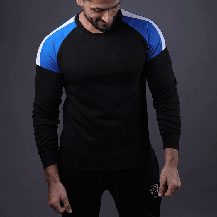 Black Sweats With Blue and White Shoulder Stripe - TeeFit Fashion