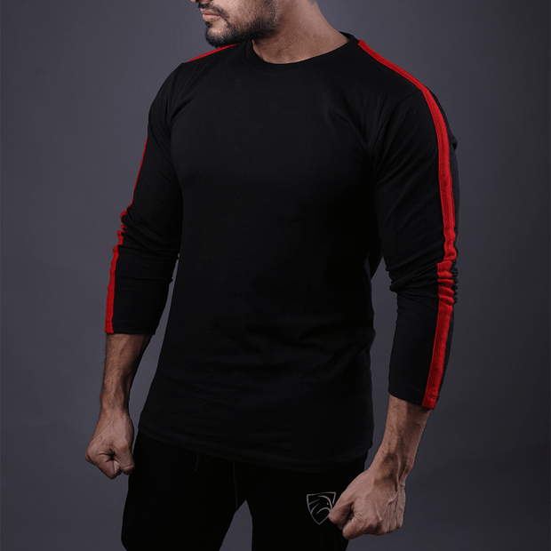 Black Full Sleeve Tee With Red Stripes - TeeFit Fashion