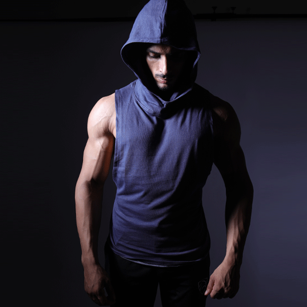 Denim Blue Deep Cut Hoodie Tank Top - TeeFit Fashion