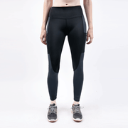 Black And Charcoal High Waisted Net Pocket Leggings - TeeFit Fashion