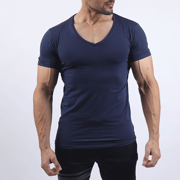 Navy Deep V-Neck Tee