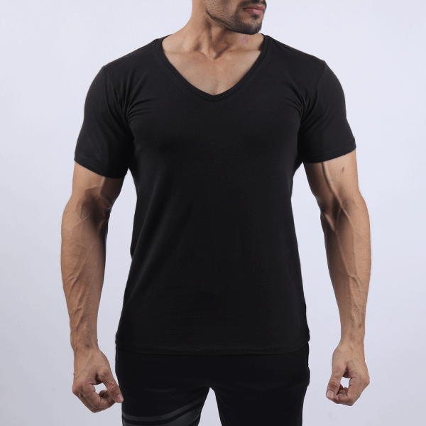 Black Deep V-Neck Tee
