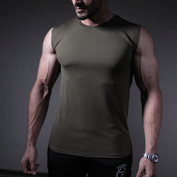 Olive Green Quick Dry Sleeveless Sando