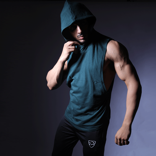 Dark Green Deep Cut Hoodie Tank Top