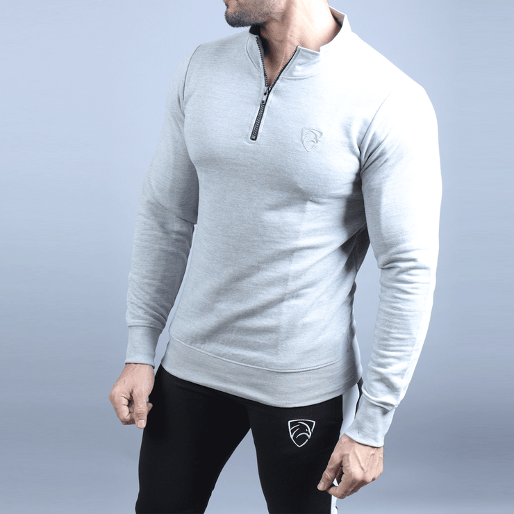 Grey Mock Neck Zipper Sweats - TeeFit Fashion