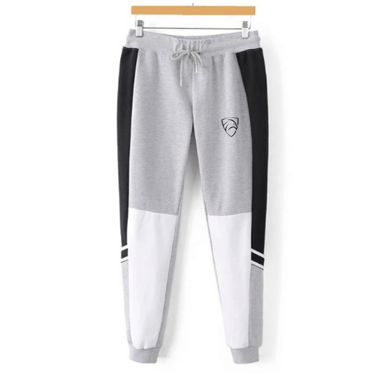 Grey And White Tapered Bottoms With Black Side Panel - TeeFit Fashion