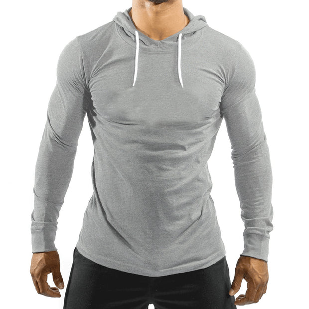 Grey Jersey Top With Hood