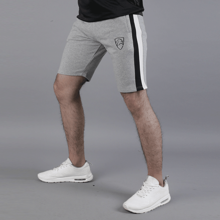 Grey Shorts With Black and White Panels - TeeFit Fashion