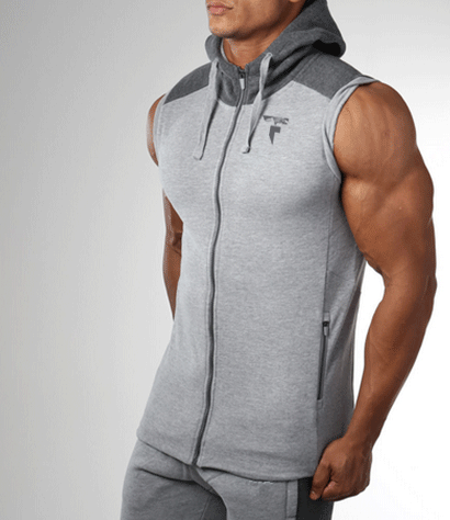 Grey & Charcoal Sleeveless Hood