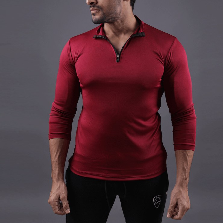 Quick Dry Maroon Hawk Zipper Top - TeeFit Fashion