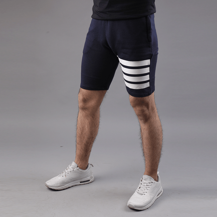 Tf-Navy Shorts With White Front Stripes - TeeFit Fashion