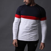 Navy, Red and White Panel Contrast Tee - TeeFit Fashion