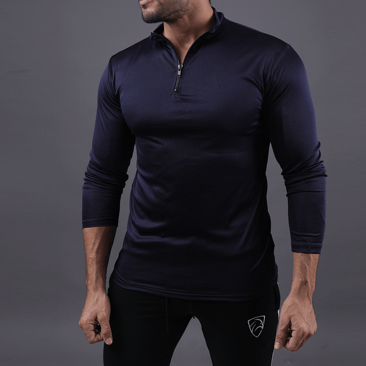 Quick Dry Navy Hawk Zipper Top - TeeFit Fashion