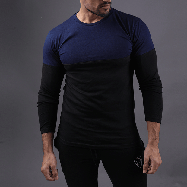 Teal & Black Two Tone Full Sleeve Tee - TeeFit Fashion