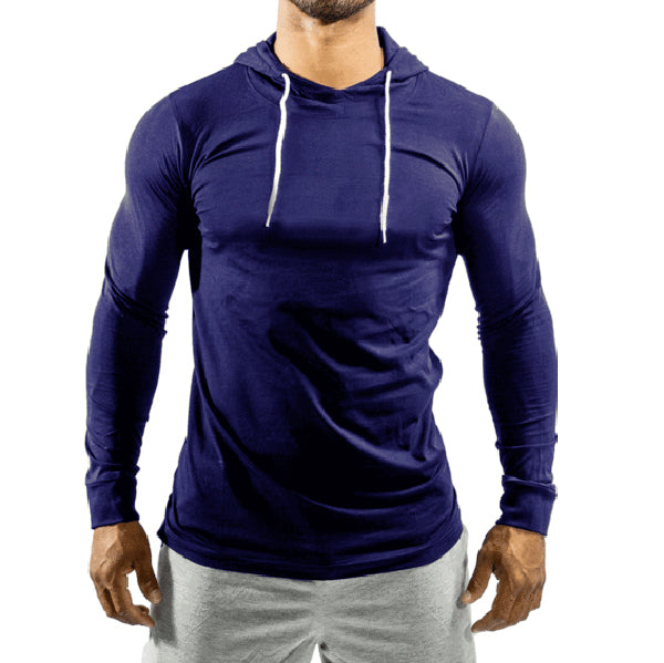Navy Jersey Top With Hood
