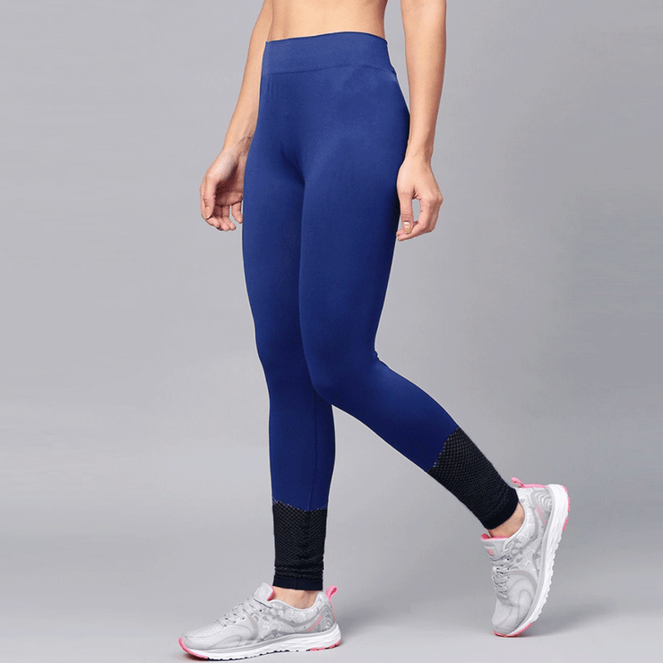 Blue Leggings With Bottom Net Panel - TeeFit Fashion