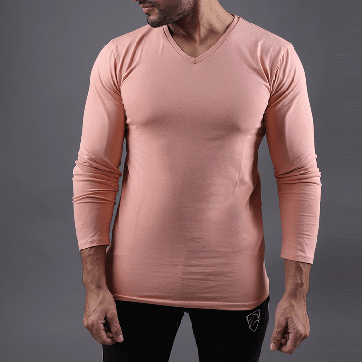 Pink Full Sleeve V-Neck Tee - TeeFit Fashion