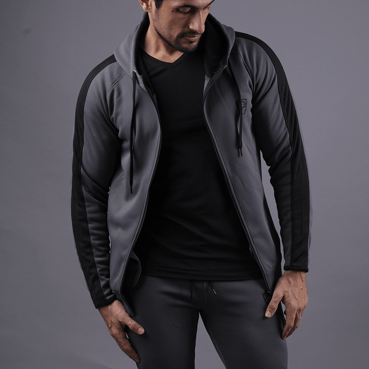 Charcoal Poly Fleece Hood With Black Panel - TeeFit Fashion
