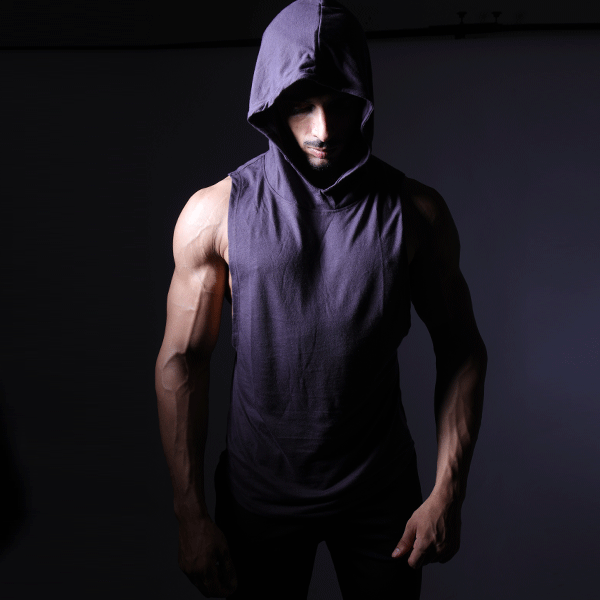 Purple Deep Cut Hoodie Tank Top
