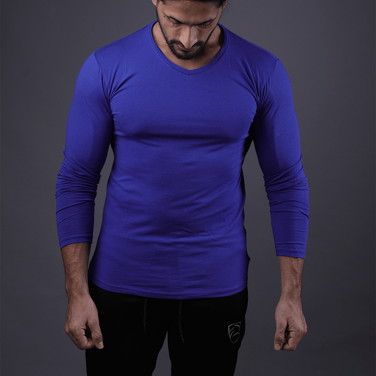 Purple Full Sleeve V-Neck Tee - TeeFit Fashion
