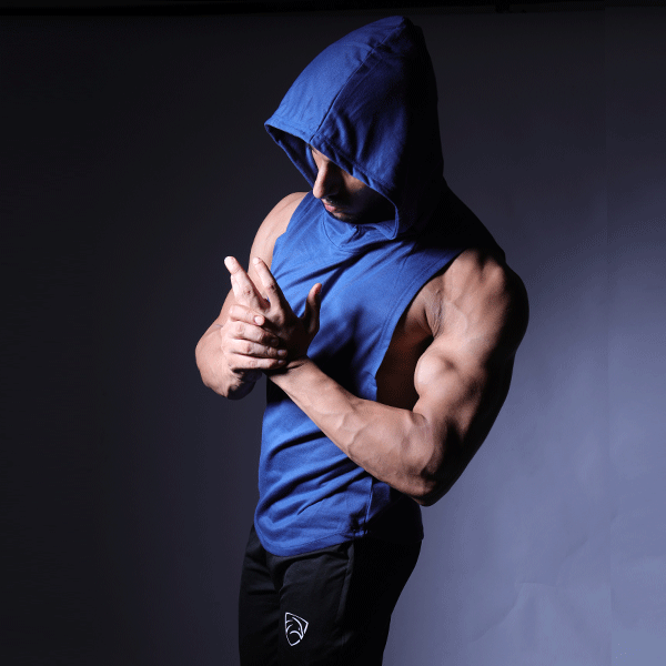 Royal Blue Deep Cut Hoodie Tank