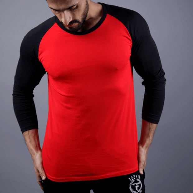 Red & Black Raglan Tee - TeeFit Fashion