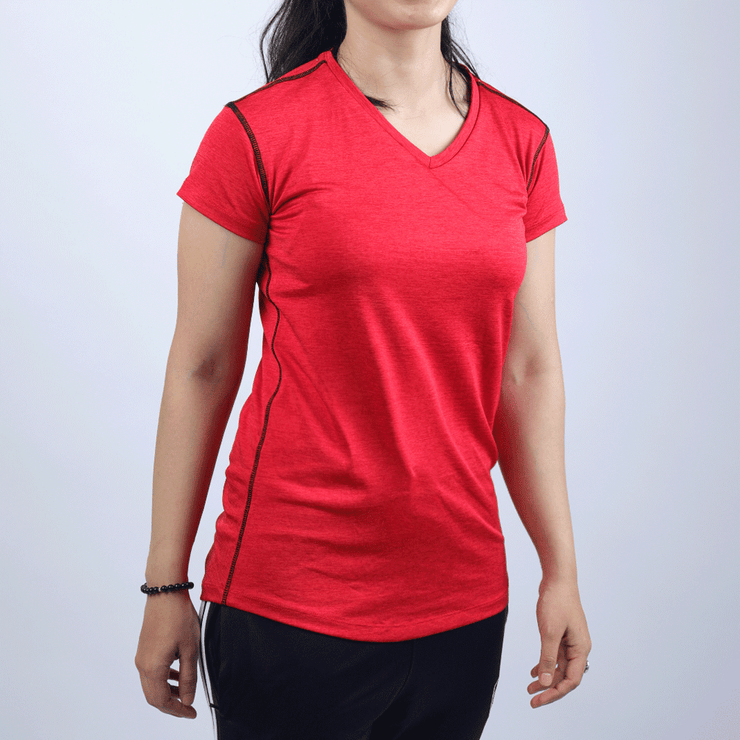 Quick Dry Red Melange Women V-Neck Tee - TeeFit Fashion