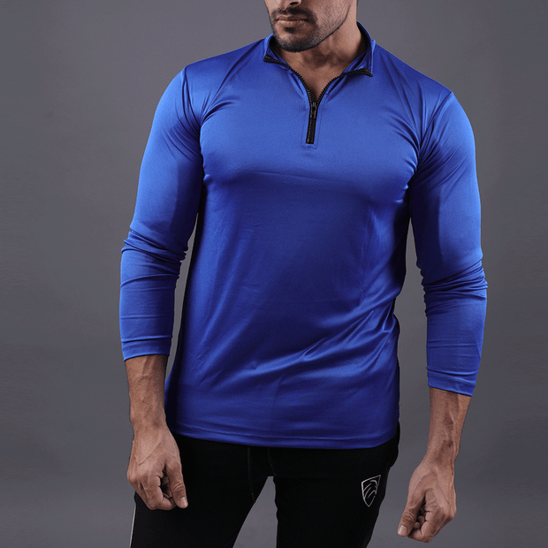 Quick Dry Royal Blue Zipper Top - TeeFit Fashion