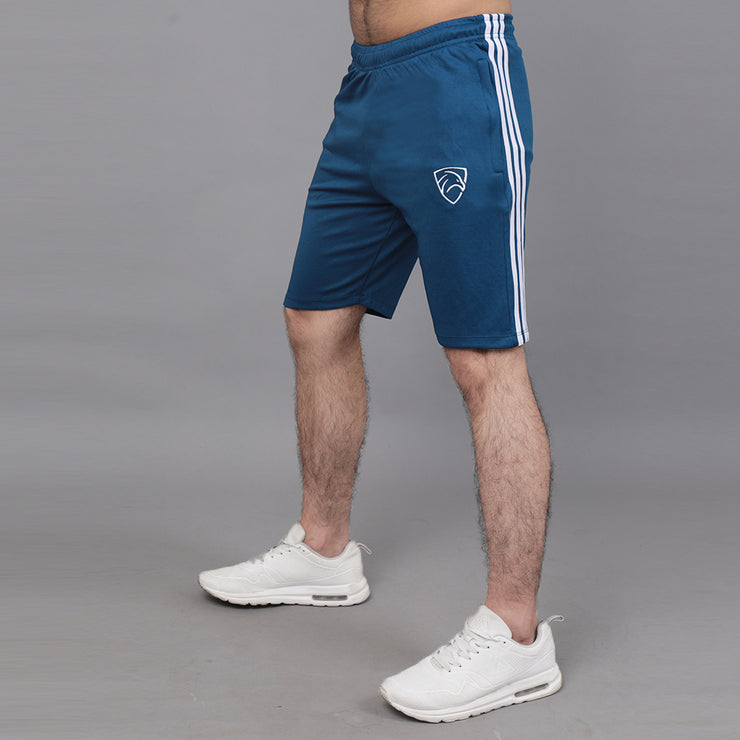 Teal Shorts With Three White Stripes