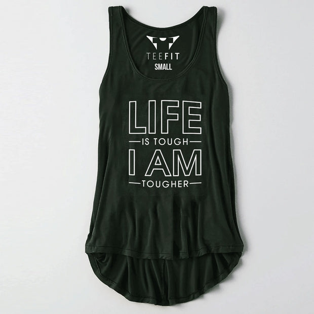 Life Is Tough Olive Women Tank