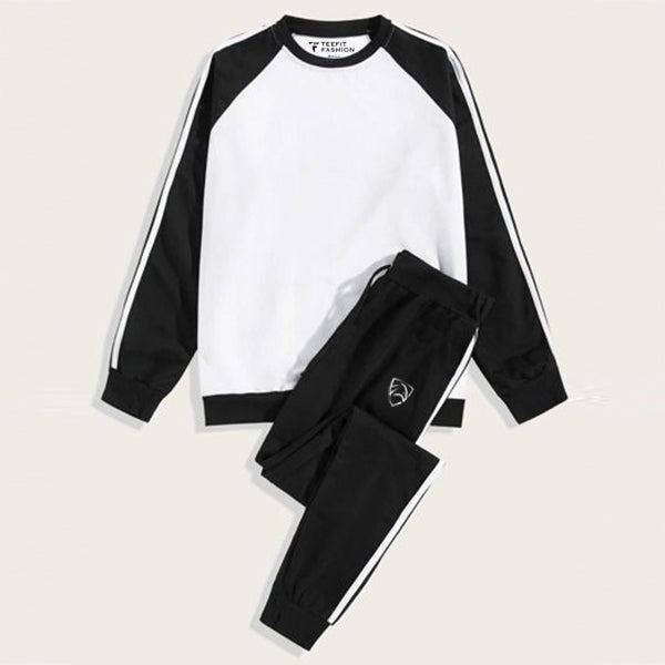 Two Stripes White Black Raglan Tracksuit