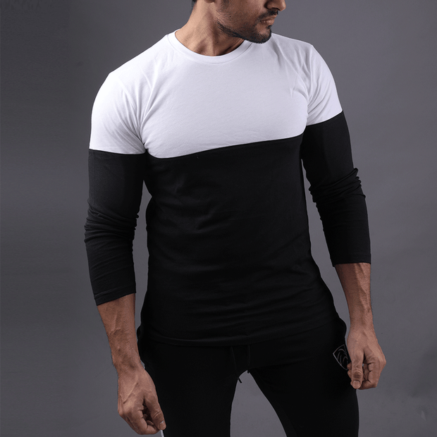 WHITE & BLACK TWO TONE FULL SLEEVE TEE