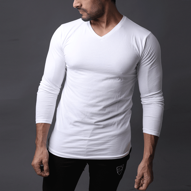White Full Sleeve V-Neck Tee