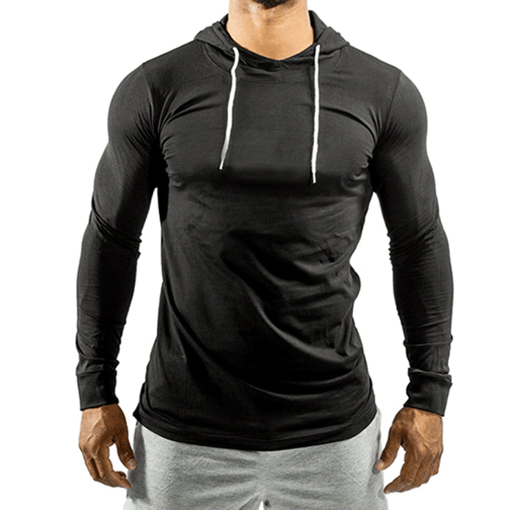 Black Jersey Top With Hood