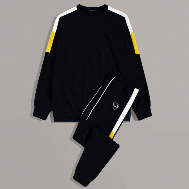 Black Terry Tracksuit With White and Yellow Panel