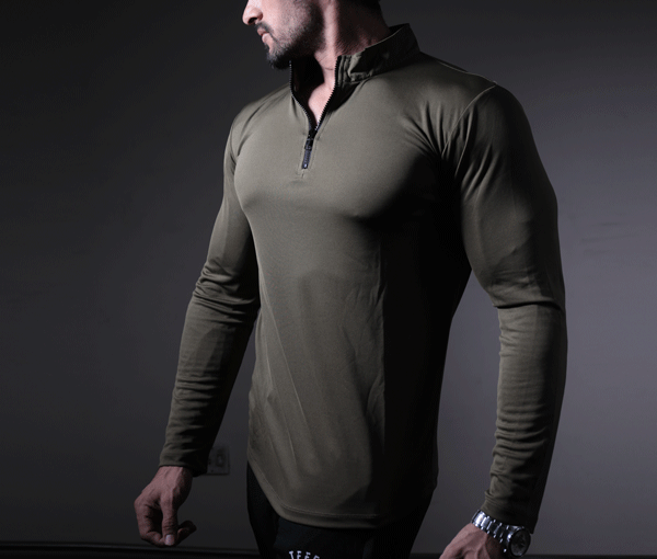 Olive Green Dri-Fit Zipper Top