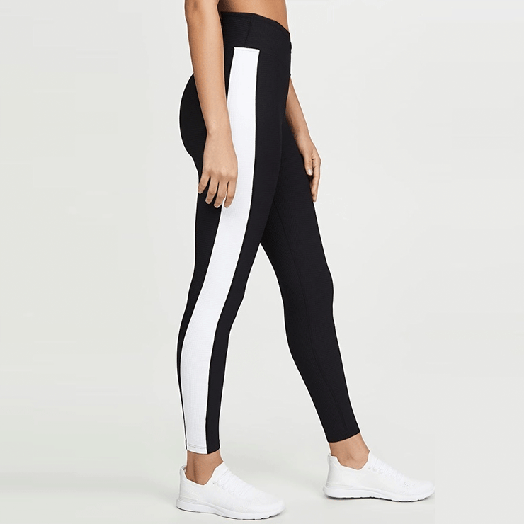 Black High Waisted Leggings With Side White Panel - TeeFit Fashion