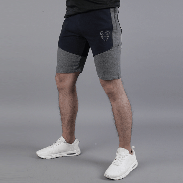Navy And Charcoal Panel Shorts - TeeFit Fashion