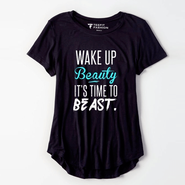 Wake Up Beauty Half Sleeve Tee - TeeFit Fashion