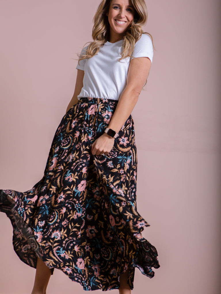 Zena Skirt - Black Botanical