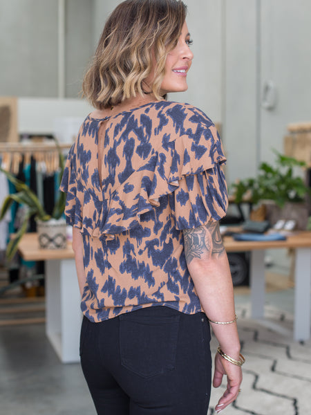 Sylvi Puff Sleeve - Amber Animal