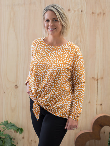 Willow Knot Top - Pumpkin and White