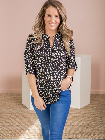 Tilly Shirt - Black/Cream Print