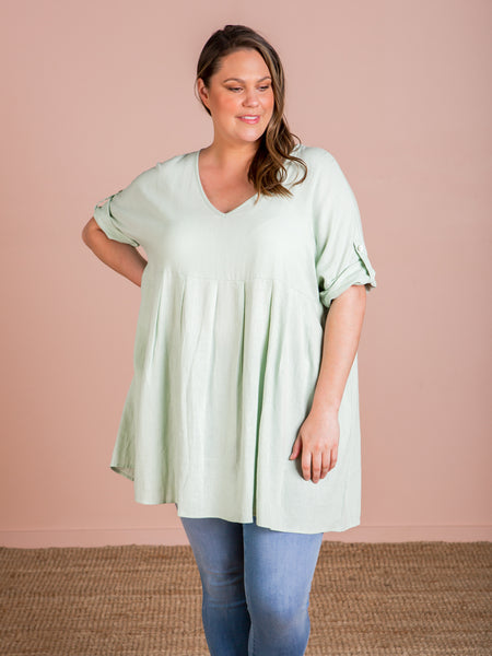 Cuban V Top/ Dress - Mint