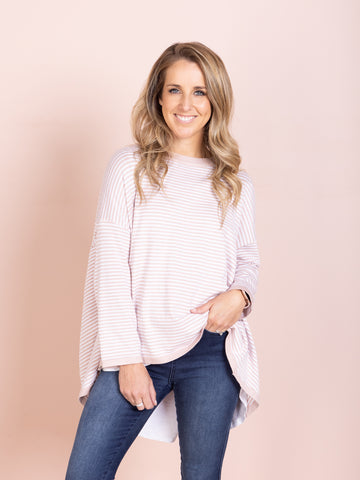 Naomi Long Sleeve Pullover - Pink/White Stripe